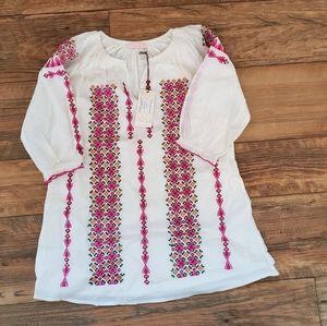 White Embroided Cotton boho dress